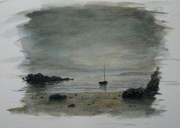 Coast (Aquarell, Papier 14 x 23 cm, fertiger Bildausschnitt ca. 12,5x15 cm), verkauft