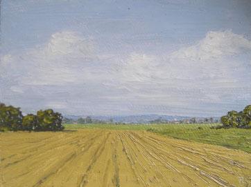 Blick vom Swisttal Richtung Eifel (Öl auf Leinwand, 12 x 16 cm, verkauft)