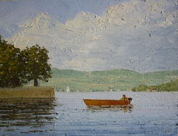 Auf dem Untersee (Öl auf Leinwand, 12 x 16 cm, verkauft)