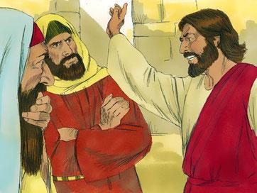 Vous, vous avez pour père le diable et vous voulez accomplir les désirs de votre père. Il a été meurtrier dès le commencement et il ne s'est pas tenu dans la vérité parce qu'il n'y a pas de vérité en lui. Il est le père du mensonge.