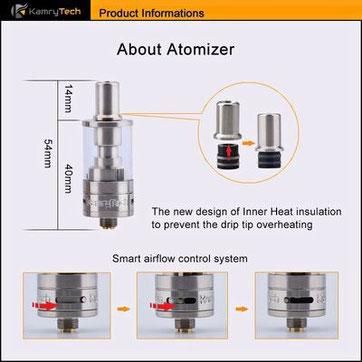 X6PLUSMINI専用アトマイザー、エアフローで煙量を調整可能