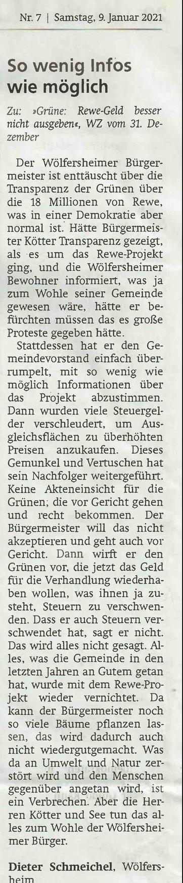 Wetterauer Zeitung, 9. Januar 2021