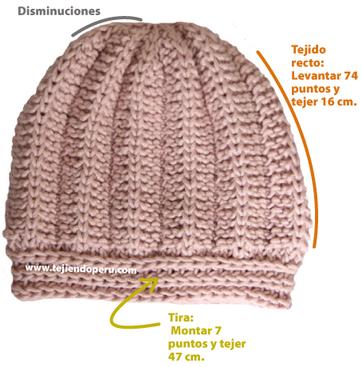 durante el tejido la tira o pretina el tejido recto las disminuciones