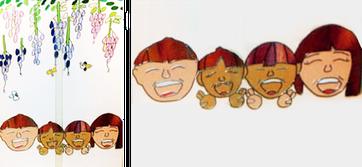 家族の似顔絵がステンドグラスのイメージ