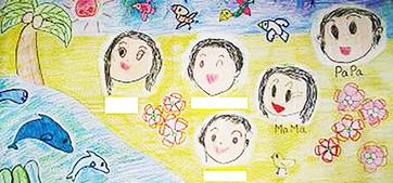 家族で描いた絵がステンドグラスのイメージ