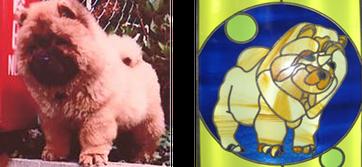 愛犬の写真がステンドグラスのイメージ