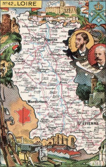 Recto d'une carte postale timbrée envoyée depuis la Loire