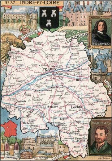 Recto d'une carte postale timbrée envoyée depuis l'Indre-et-Loire