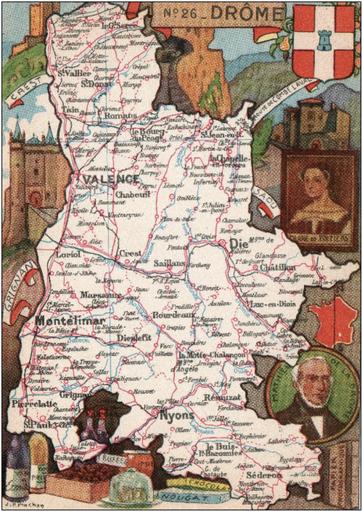 Recto d'une carte postale timbrée envoyée depuis la Drôme