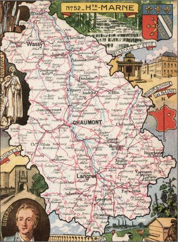 Recto d'une carte postale timbrée envoyée depuis la Haute-Marne
