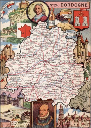 Recto d'une carte postale timbrée envoyée depuis la Dordogne