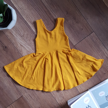 Mustard dress for little girls, available in 7 colours
