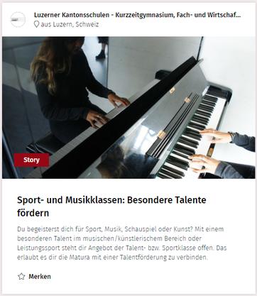 Matura und Leistungssport Talentklasse Musikklasse