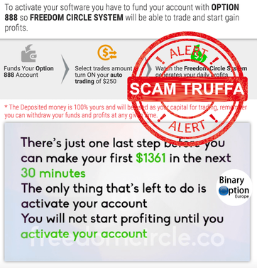 freedom cirle truffa scam option888