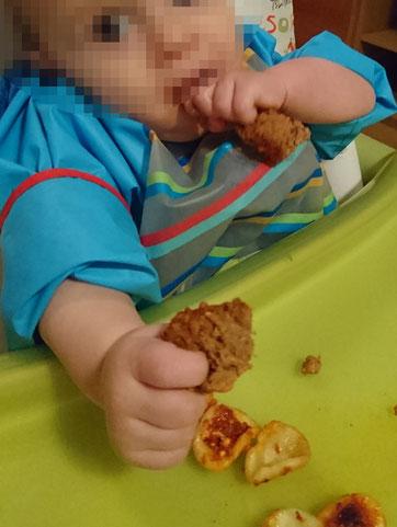 BLW Baby led weaning fleisch Rezept Anfang Start Rezepte Hackbraten Nudeln Tomatensoße