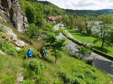Aufstieg zum Russenstein oberhalb des Neckars