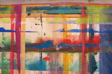 Ausschnitt aus einem Stück Malwand im offenen Malatelier.