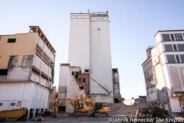 Baumaschinen sind bei der Arbeit mit dem Abriss vom Schill-Gelände.