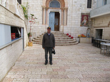 In the courtyard of the Armenian Catholic church at the 4th station of Via Dolorosa