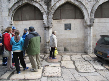 The first century pavement at the 3rd station of Via Dolorosa