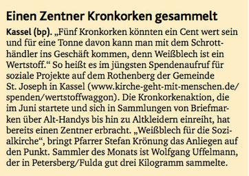 Kirchenzeitung Bonfatiusbote wirbt für uns im Sommer 2013. Danke!