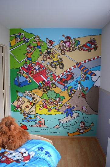 Dirk Van Bun Communicatie en Vormgeving - behangpapier - illustratie - kinderkamer - ontwerp - reclame - Lommel