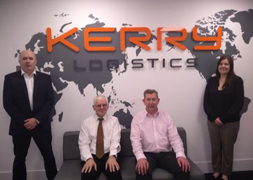 David Mallinson, General Manager - Air Division, Kerry Logistics (UK) (left) and the UK air freight team in the new office at the Skyport Heathrow site. Image courtesy of Kerry Logistics