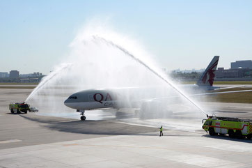 B777 water salute at Miami International