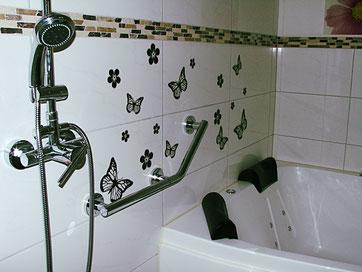 Neu: Ein- und Ausstiegshilfe für den Whirlpool und Haltegriff beim Duschen. Fotos: Klaus Kochendörfer