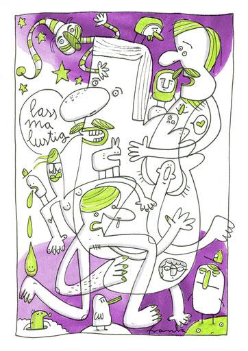 Skizze mit vielen Figuren von Frank Schulz