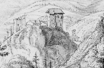 Eines der ersten (bekannten) Bilder vom Schloss Gräpplang (1674 Johannes Meyer [Ausschnitt], Zentralbibliothek Zürich, Graphische Sammlung STF XVII, 41)