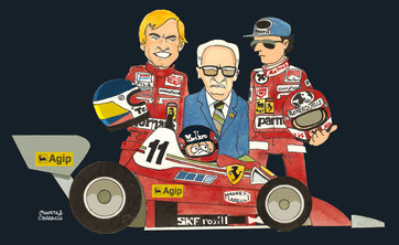 Pilotos de la Scuderia Ferrari 1977 by Muneta & Cerracín