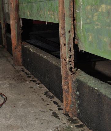 Kerkerbachbahn, Wagen 19, Seitenträger, Durchrostung