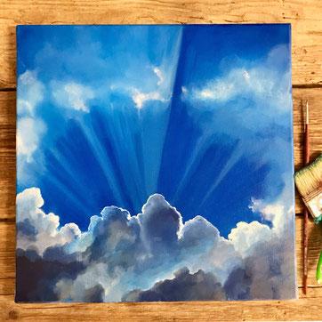 Einen strahlend blauen Himmel mit einen Wolken Gebilde. Ein kleines Kunstwerk zum nachmalen.