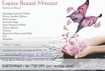 Carte de visite Espace Beauté Minceur de Laurine GOSSE