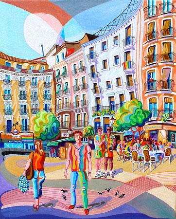 PLAZA DE CHUECA (MADRID).Huile sur toile. 100 x81 x 3,5 cm.