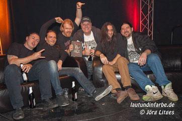 Mitglieder von Kreator, Sodom, Darkness und Onkel Tom mit Christian Krumm in der Zeche Carl