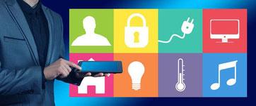 Smart Home Technik - Einfamilienhaus - Hausbau, Einfamilienhaus, Eigenheim, Massivhaus, Heizung, Blockhaus bauen,  Massiholzhaus, Keller, Überwachungskameras