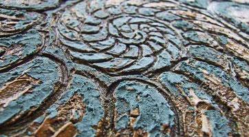 """Ausschnitt der Carborundumdruckplatte """"Ammonit"""""""