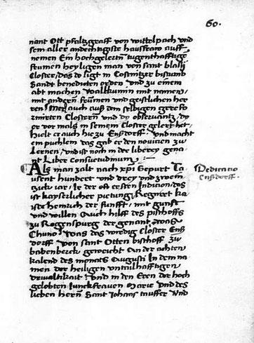 Erwähnung des Liber consuetudinum im Text der Parfueß-Chronik; BSBM: Clm 351, fol. 60r.