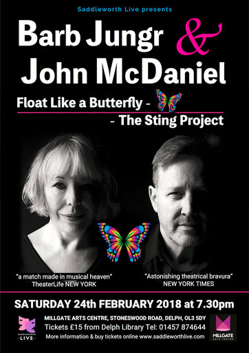 Jazz legend Barb Jungr and Broadway musical supremo John McDaniel perform songs by Sting at Saddleworth Live at the Millgate Feb 24 2018.