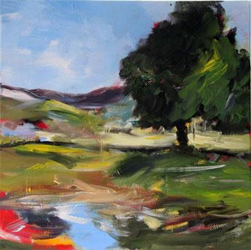 Sommerlandschaft mit Teich und Solitärbaum