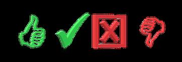 Einfache Symbole für richtig und falsch
