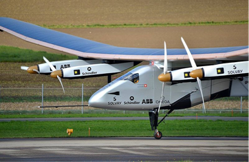 Die «Solar Impulse 2» hat zahlreiche Sponsoren. Bild: Wikimedia Commons