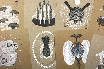 Rezepte, Muster, Gemüse, Rezeptkarten, Illustrationen, schwarz und weiß, Zeichnungen, drawings