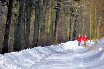 Kinder auf winterlicher Straße