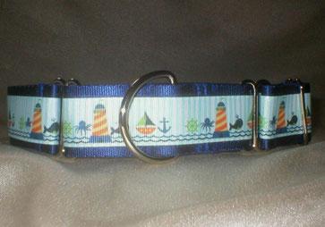 Halsband, Hund, Martingale 4cm breit, Gurtband maritim-blau, Borte mit Strand- und Seemotiven