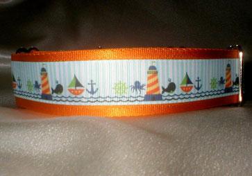 Halsband, Hund, Martingale, 4cm breit, Gurtband goldorange, Borte Strand- und Meermotive