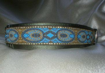 Halsband, Hund, Martingale 4cm breit, Gurtband olivgrün, Borte in blau-gold Tönen
