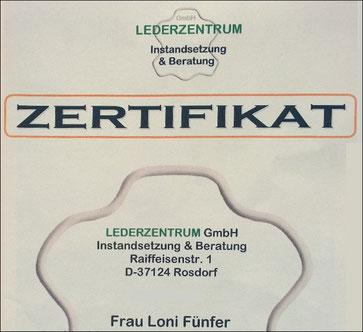 Zertifikat des Lederzentrums